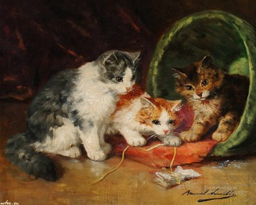kittens reading a book Alfred Brunel de Neuville Oil Paintings